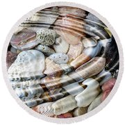 Round Beach Towel featuring the digital art Minerals And Shells by Michal Boubin