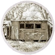 Round Beach Towel featuring the photograph Miner's Camp by Timothy Bulone