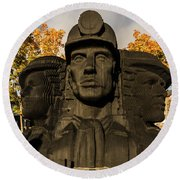 Miners In The Autumn Round Beach Towel