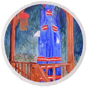Miner's Overalls Round Beach Towel by Sandy McIntire