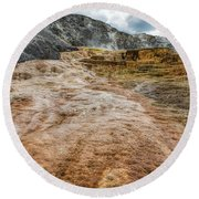 Round Beach Towel featuring the photograph Minerva Hot Springs Yellowstone by John M Bailey