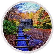 Mingus Mill 002 Round Beach Towel