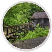 Round Beach Towel featuring the photograph Mingus Mill 2 Mingus Creek Great Smoky Mountains Art by Reid Callaway