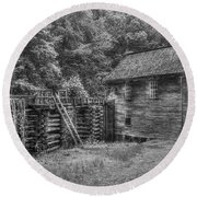 Round Beach Towel featuring the photograph Mingus Mill Black And White Mingus Creek Great Smoky Mountains Art by Reid Callaway