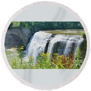 Round Beach Towel featuring the photograph Mini Falls by Raymond Earley