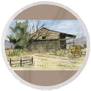 Mini No 1 Old Hay Shed Round Beach Towel
