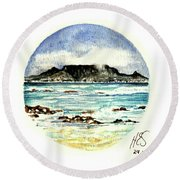 Round Beach Towel featuring the painting Miniature Cape Town by Heidi Kriel