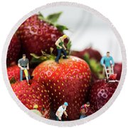 Miniature Construction Workers On Strawberries Round Beach Towel