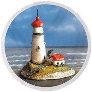 Miniature Lighthouse Round Beach Towel by Wendy McKennon