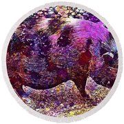 Round Beach Towel featuring the digital art Miniature Pig Pregnant Animal Pig  by PixBreak Art