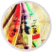 Miniature Surfboard Decorations Round Beach Towel