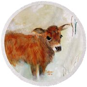 Nicholas The Miniature Zebu Calf Round Beach Towel by Barbie Batson