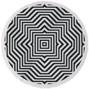 Minimal Geometrical Optical Illusion Style Pattern In Black White T-shirt  Round Beach Towel