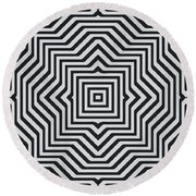 Minimal Geometrical Optical Illusion Style Pattern In Black White T-shirt  Round Beach Towel
