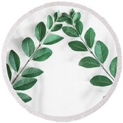 Round Beach Towel featuring the photograph Minimal Green 2 by Andrea Anderegg