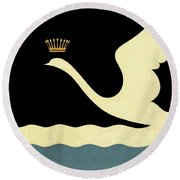 Minimalist Swan Queen Flying Crowned Swan Round Beach Towel by Tina Lavoie