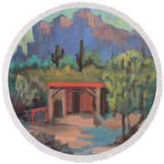 Round Beach Towel featuring the painting Mining Camp At Superstition Mountain Museum by Diane McClary