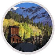 Round Beach Towel featuring the photograph Mining Ruins by Steve Stuller