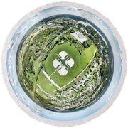 Round Beach Towel featuring the photograph Miniwaukan Park Little Planet by Randy Scherkenbach