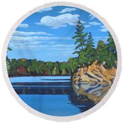 Mink Lake Gap Round Beach Towel