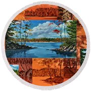 Mink Lake Looking North West Round Beach Towel