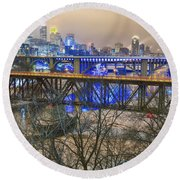 Minneapolis Bridges Round Beach Towel by Craig Voth