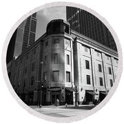 Round Beach Towel featuring the photograph Minneapolis Downtown Bw by Frank Romeo