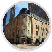 Round Beach Towel featuring the photograph Minneapolis Downtown by Frank Romeo