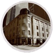 Round Beach Towel featuring the photograph Minneapolis Downtown Sepia by Frank Romeo