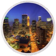 Minneapolis Skyline Art Marquette Avenue Round Beach Towel