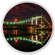 Minneapolis Skyline Hennepin Avenue Bridge Round Beach Towel
