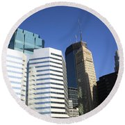 Round Beach Towel featuring the photograph Minneapolis Skyscrapers 11 by Frank Romeo