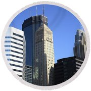 Round Beach Towel featuring the photograph Minneapolis Skyscrapers 12 by Frank Romeo
