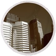 Round Beach Towel featuring the photograph Minneapolis Skyscrapers 5 Sepia by Frank Romeo