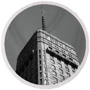 Round Beach Towel featuring the photograph Minneapolis Tower 6 Bw by Frank Romeo