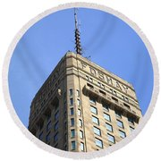 Round Beach Towel featuring the photograph Minneapolis Tower 6 by Frank Romeo