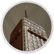 Round Beach Towel featuring the photograph Minneapolis Tower 6 Sepia by Frank Romeo