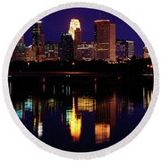 Minneapolis Twilight Round Beach Towel