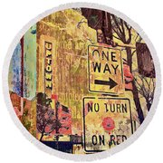 Minneapolis Uptown Energy Round Beach Towel by Susan Stone