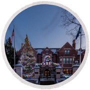 Christmas Lights Series #6 - Minnesota Governor's Mansion Round Beach Towel