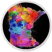 Minnesota Map Color Splatter 2 Round Beach Towel