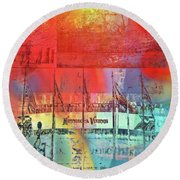 Round Beach Towel featuring the photograph Minnesota Vikings Art by Susan Stone