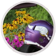 Minnesota Vikings Helmet Round Beach Towel by Kyle West