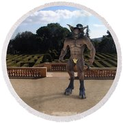 Minotaur In The Labyrinth Park Barcelona. Round Beach Towel