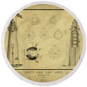 Round Beach Towel featuring the drawing Minot's Ledge Light House. Massachusetts Bay by Vintage