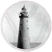Round Beach Towel featuring the photograph Minot's Ledge Lighthouse, Boston, Mass Vintage by Vintage