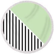 Mint And Black Geometric Round Beach Towel by Linda Woods