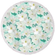 Mint Magnolias Round Beach Towel