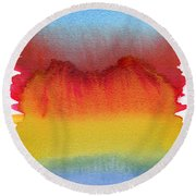 Round Beach Towel featuring the painting Miraggio by Bee-Bee Deigner