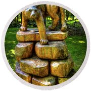Round Beach Towel featuring the photograph Mirnie's Cougar Sculpture by David Patterson